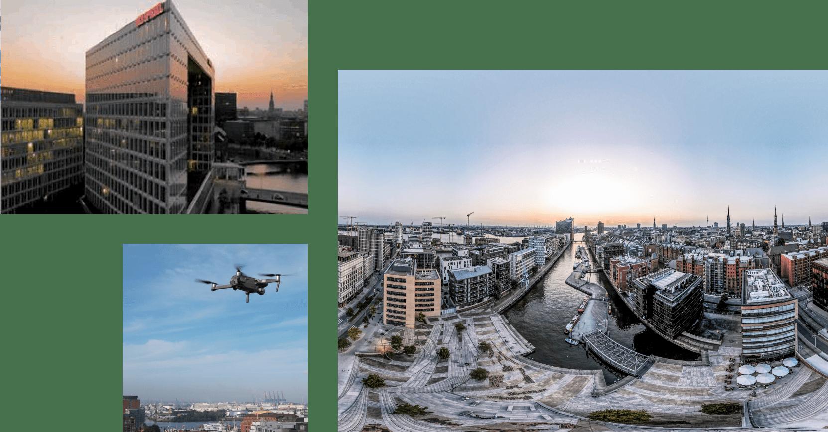 Drohnenaufnahmen in der Hamburger Hafencity